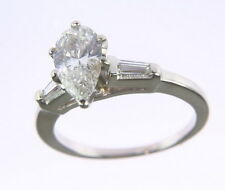 Ladies 14k White Gold 1Ct Pear Cut Diamond 1/5Ct Baguette Accent Engagement Ring