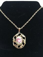 """Vintage """"Whiting Davis"""" Very Ornate Porcelain Cameo Pink Rose Pendant w/ Chain"""
