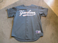 VINTAGE Majestic New York Yankees Jersey Adult Extra Large SEWN Mesh Gray MLB