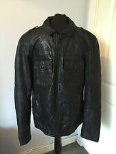 Men's AllSaints Black Leather Shift Bomber Jacket Size XL RRP £358
