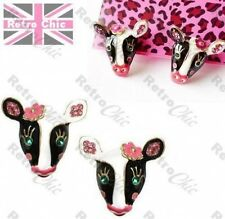 CUTE COW black/white EARRINGS crystal ENAMEL rhinestone BETSEY JOHNSON pink BJ