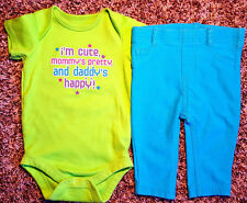 Girl's Size 6 M 3-6 Months 2 Pc Green Im Cute Mom's Pretty Dads Happy Top, Pants