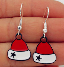 925 Silver Plated Hook - 1.4'' Christmas Hat Sun Star Oil Painted Earrings #06