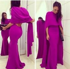 New Fuchsia Mermaid Backless Long Formal Dress With Cape Evening Party Prom Gown