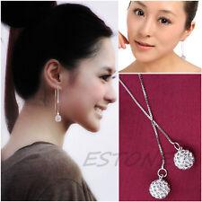 Women's Silver Plated Charm Zircon Threader Drop Dangle Long Chain Earrings