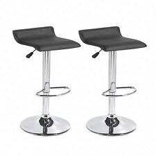 Set of 2 Black Swivel Seat Chrome Base Pub Bar Stools Dinning Kitchen Chair