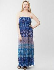 Lane Bryant Blue Mixed Print Chiffon Maxi Dress Size 14/18 1X New NWT Blue