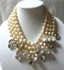 Yves Saint Laurent YSL VINTAGE faux BAROQUE PEARL & CRYSTAL NECKLACE chunky