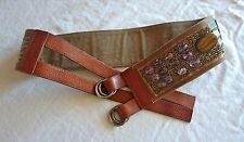 ~ DRIES VAN NOTEN BROWN LEATHER BEADED EMBELLISHED BELT (BOHO GLAM!)  ~ 75