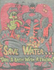 SAVE WATER TAKE BATH WITH A FRND vintage 70s iron on t shirt transfer full size
