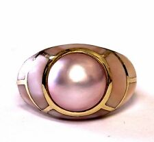 14k yellow gold mabe pink pearl fashion ring 2.4g womens estate MOP