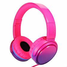 RockPapa Girls DJ Foldable Headphones Folding Headsets Adjustable Gradient Pink