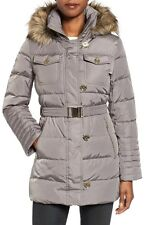 Michael Kors Down Hooded Faux Fur Button Quilted Belted Puffer Coat Flannel S