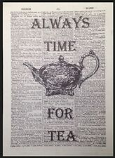 Vintage Always Time For Tea Teapot Dictionary Print Picture Page Kitchen Art