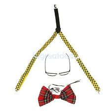 Nerd Geek Red Tartan Fancy Dress Costume Glasses Bow Tie Braces Set Adult