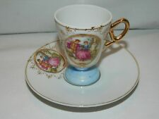 VINTAGE MINIATURE CUP & SAUCER –JAPAN –VICTORIAN COURTING SCENE