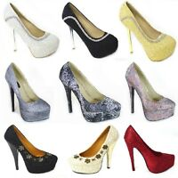 LADIES DIAMANTE COURT SHOES WOMENS DRESSY HIGH HEELS WEDDING BRIDAL SIZE 3-8