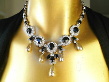 STUNNING CHRISTIAN DIOR  by KRAMER Jeweled Pearl Drop RUNWAY Vintage Necklace