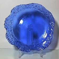 COBALT BLUE PLATE WITH DECORATIVE EDGE