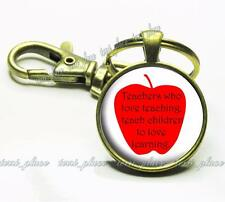 Teachers who Love Teaching School Quote Hand-Crafted Glass Top Key Chain