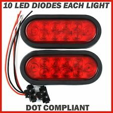"(2) Trailer Truck LED Sealed RED 6"" Oval Stop/Turn/Tail Light Marine Waterproof"
