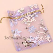 100x Hot Sale Snowflakes Purple Organza Wedding Favours Christmas Gift Bags LC