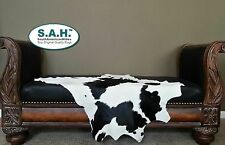 Classic BLACK & WHITE Cowhide Calf Skin Animal Throw size Approx 3X3ft