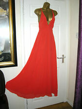 8 ASOS RED MAXI DRESS PLUNGE BACKLESS FLOATY CHIFFON  20'S 30'S WEDDING SUMMER