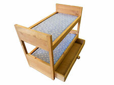 ALL WOOD DOLL BUNK BED WITH STORAGE DRAWER AND BLUE MATTRESS