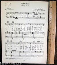 """WABASH COLLEGE Vintage Song Sheet c1929 """"Old Wabash"""" - Original"""