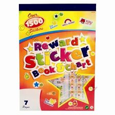 OVER 1500 CHILDRENS KIDS REWARD STICKERS BOOK PARENTS TEACHER + REUSABLE CHART!