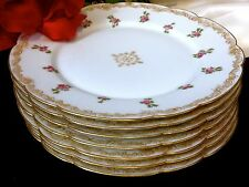 LIMOGES T&V FRANCE Signed Hand Painted 22K Gold Dinner Plate Set of 7  100 Yrs
