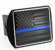 USA US American Metal Black Flag Trailer Hitch Cover with Thin Blue Line