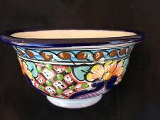 TALAVERA FOLK ART MEXICAN RED CLAY POTTERY HAND PAINTED GLAZED VINTAGE BOWL
