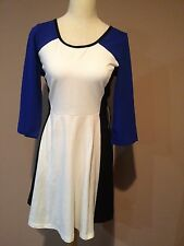 Nwt Express Royal Blue White Black Fit And Flare Stretchy 3/4 Sleeve Dress Sz.L