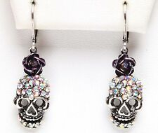 KIRKS FOLLY DREAM SKULL ROSE LEVERBACK EARRINGS antique silvertone
