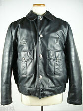 Vintage KALE UNIFORMS Chicago Police Motorcycle Leather Jacket Black sz 42