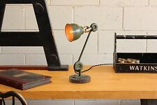 Vintage Industrial Edon Lamp Light Machine Age Desk Factory w/ Steel Gear Base