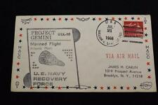 NAVAL SPACE COVER 1966 GEMINI GTA-10 RECOVERY SHIP USS W C LAWE (DD-763) (2662)
