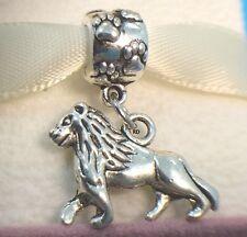 Lion Dangle 3D Charm on Paw Print Slider Bead for Bracelet OR Necklace