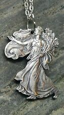 HAND CUT LADY LIBERTY AMERICAN .999 SILVER EAGLE PENDANT