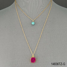 Gold Double Chain Turquoise Bead Purple Natural Druzy Stone Pendant Necklace
