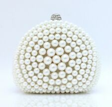 WOMENS SEMI CIRCLE PEARL CLUTCH BAG PEARLS BRIDE BRIDAL HAND BAG BLACK OFF WHITE