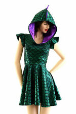 SMALL Green Dragon Scale Flip Sleeve Hoodie Rave Skater Dress Ready To Ship!