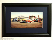 OLD CARS  PICTURE TEAPOT DOME OLD MOBIL GAS PUMPS CLASSICS  MATTED FRAMED 10X16