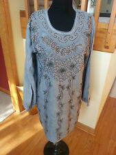 Kurti Long Sleeves Tunic Women Wear Embroidered Indian gray Top siz M free ship