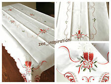 Christmas Embroidered Table Cloth with Cut Work (220x145cm)white