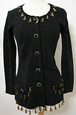 BETSEY JOHNSON LUXE Black Knit Cardigan Sweater W/Gold Shimmer Trim NWOT S