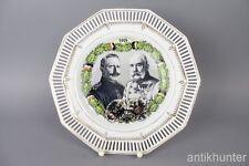 schöner patriotischer Durchbruch Teller Wilhelm & Franz Joseph 1914