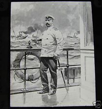 Glass Magic lantern slide ADMIRAL ROZHDESTVENSKY C1900 RUSSIA RUSSIAN